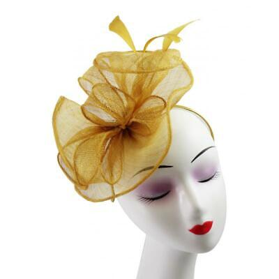 New Elegant Sinamay Flower Feather Fascinator With Detachable Headband and Clip