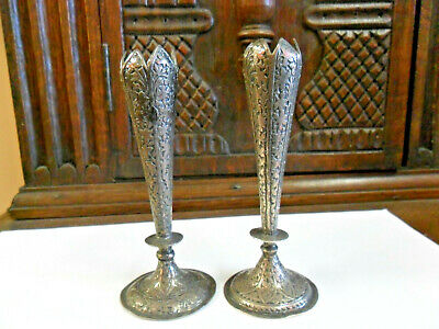 Pair Of Vintage Indian Silver Bud Vases.