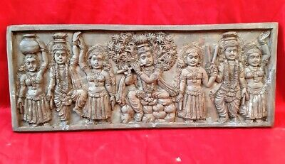 Antique Wooden God Krishna Wall Panel Hindu Temple Art Collectible Bracket Decor