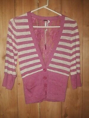 Poof  Girls Pink & White Top w Lace Size Large ( 10/12) Neww tags