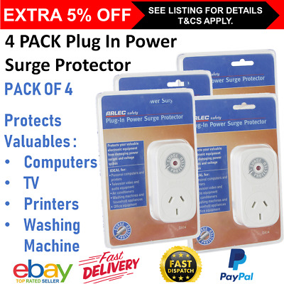 4x Power Surge Protector 240V Plug In Wall Surge Protected Adaptor Computer TV