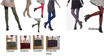 HUE Women's opaque Tights Oliver, Stoneware, Blue, Army Red Colors 1  2 3