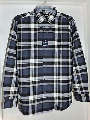 edd408790d5f Chaps Men's L/S Button Front Performance Flannel Shirt Blue Plaid X-Large  NEW