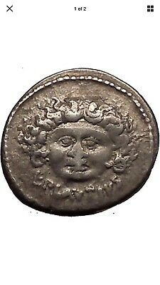 Roman republic 47BC Medusa & Aurora with Sun Horses Ancient Silver Coin