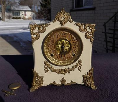 Kroeber Cast Iron Brass Embossed Dial & Ormolu Shelf Mantle Clock Original Label