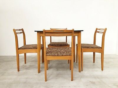Vintage Retro Mid Century 1950S Beech And Formica Dining Table And Chairs