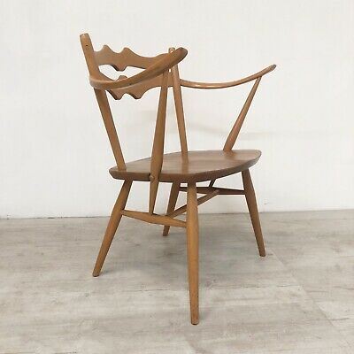 Rare Vintage Mid Century 50S 60S Ercol Model 493 Elm And Beech Elbow Chair