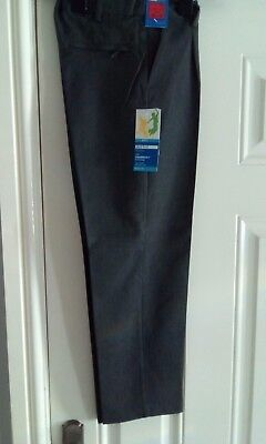 Boys School Uniform Trousers Formal Slim Smart Grey Adjustable Waist