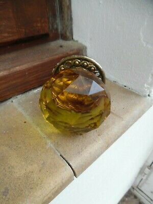 Antique French Faceted Amber Glass And Brass door handle