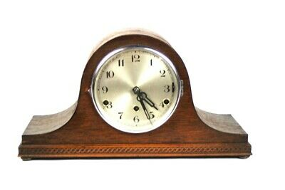 Vintage Oak Cased Napoleon Hat Westminster Chiming Mantel Clock [5102]