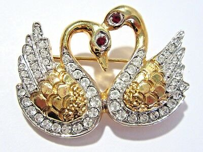 Pin New Old Stock Pair Of Swans Gold Tone Rhinestone Sparkly Figural Red Eyes