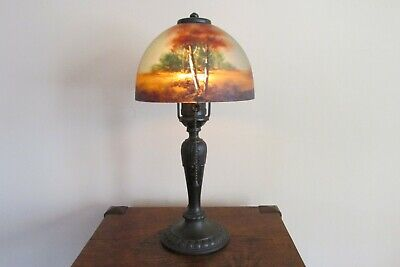 All Original Jefferson Arts & Crafts Mission Scenic Boudoir Desk Table Lamp
