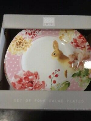 222fifth Leanna Bunny Easter 4 New In Box Salad Plates