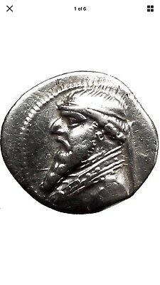 Mithradates II the great 120 B.C Ancient Silver Parthian Coin 19mm.(3.99g)