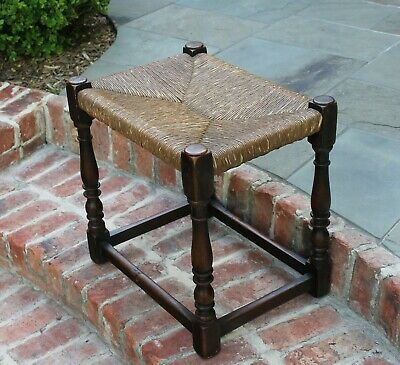 Antique English Foot Stool Bench Settee Chair Oak Turned Post Rush Seat