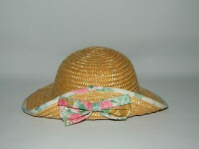 Vintage 80'S Child's Girl's Straw Hat With Bow Front Detail