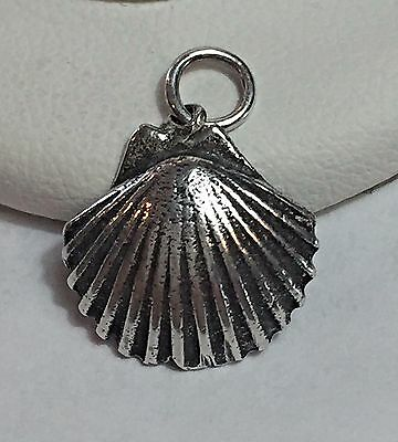 Sterling Silver 925 SCALLOP CLAM SHELL 3D Seashell Beach Ocean Travel Charm
