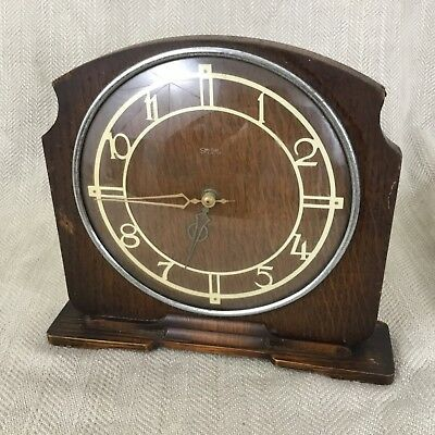 Art Deco Mantle Clock Wooden Oak Smiths Clockwork Mechanical Circa 1930s