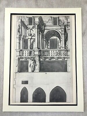 Antique Print Rare Holbein the Younger Architectural Drawing Wall Painting