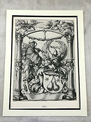 Rare Antique Print Holbein Stained Glass Window Painting Coat of Arms Heraldry