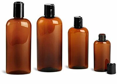 4 Oz. Amber Plastic Cosmo Ovals Bottles with 20/410 Neck and Black Disc Top...