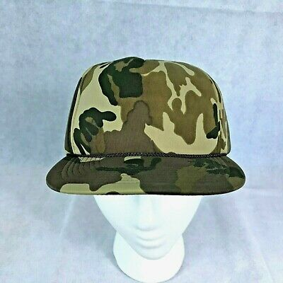 c489323994065 Vintage San Sun Camouflage Trucker Snapback Hat Adjustable Camo Rope on Bill