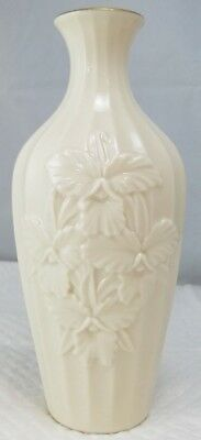 "Lenox Ivory 7.5"" Bud Vase Hand Painted 24k Gold Trim Embossed Floral Bouquet"