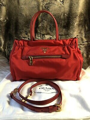 263a7938d53340 NWT AUTHENTIC Prada Top Zip Nylon Satchel Purse Crossbody Shoulder Bag In  Red
