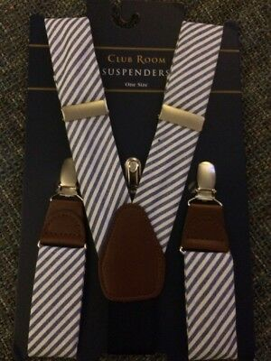CLUB ROOM Black Suspenders Gold Tone Hardware Adjustable One Size NWT $19.98