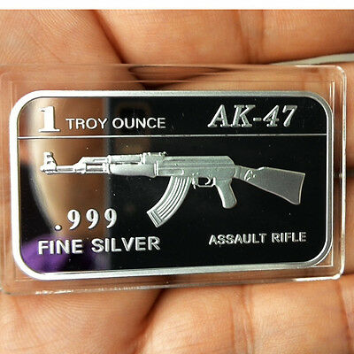 AK-47 Assault Rifle design.1 Troy oz .999 Fine silver Bullion bar. NEW!