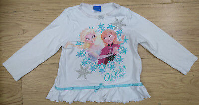 DISNEY MINI CLUB girls white frozen pyjamas top age 2-3 years sleepwear