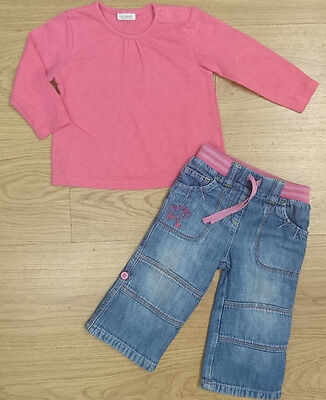next BABY GIRLS OUTFIT BUNDLE 0-3 months top jeans pink