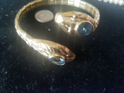Antique Snake bangle bracelet. A +D rolled gold Germany. Double headed Serpent.
