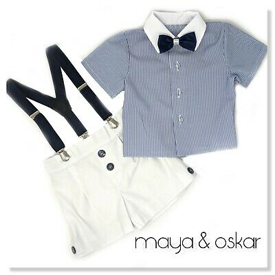 Boys Summer Smart Outfit Set Shorts Braces Formal Party Wedding 0m - 3yrs