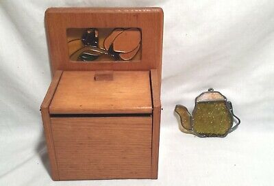 Vintage Oak Recipe Card Box Stained Glass Panel Wall/Counter & Teapot Suncatcher