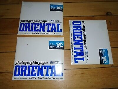 ORIENTAL SEAGULL SELECT PHOTOGRAPHIC PAPER 3 UNOPENED PACKAGES, 8x10, 75 SHEETS