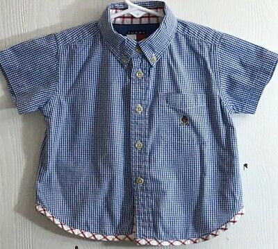 Tommy Hilfiger Baby Boy 6-12M Shirt Short Sleeve Button Down Blue/White Checked