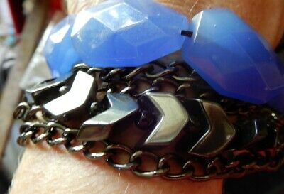 5 Stacked Bracelet Big faceted Glass Beads Chains Arrows - Estate -2 Post FREE