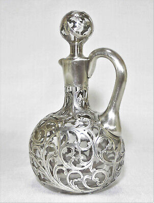 Alvin Sterling 1000 Fine Overlay Cut Glass Decanter