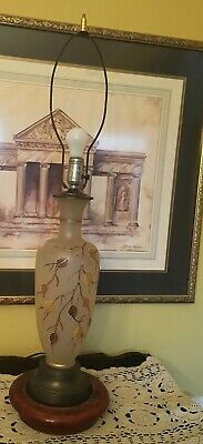 Vintage Mid Century Floral Gold Leaf Hand Painted Copper Base & Top Lamp