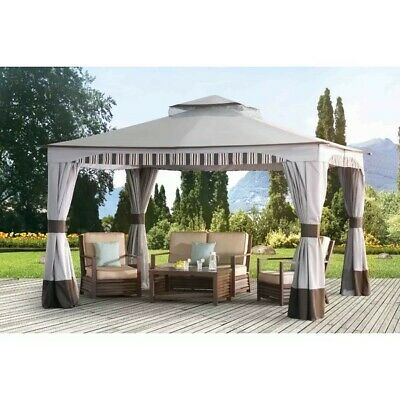 10 X10 Deluxe Gazebo Canopy With Net Outdoor Party Tent Park Use