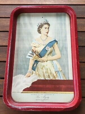 Vintage Willow Tray.Souvenir. Coronation of Her Majesty Queen Elizabeth ll 1953