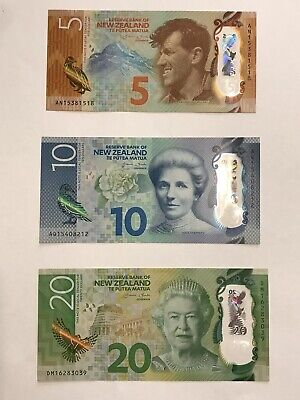 new zealand Bank Notes $5 $10 $20 Dollar Pristine Condition - Free Postage