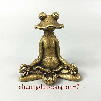 Antique Rare Chinese Collectible Brass Handwork Meditation lotus frog Statue