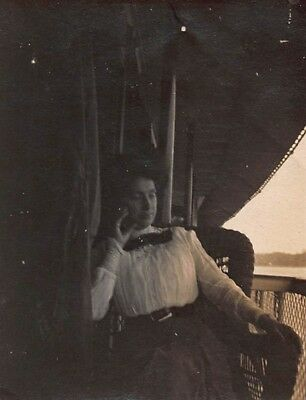 THOUGHTFUL VICTORIAN WOMAN on DECK OF FERRY BOAT DRESS BOW FASHION VTG PHOTO S45