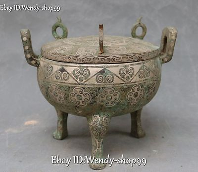 "8"" Chinese Ancient Bronze Ware Silver Flower Word Container Pot Jar Crock Tank"