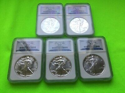 Silver American Eagle 1986-2010 Set Ngc Ms 69 - 25 Coins!
