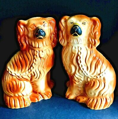 Superb Matched Pair of Staffordshire Spaniel Dogs with Apricot Glaze, c1890s