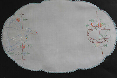 Vintage white linen hand embroidered crinoline lady and archway cloth.