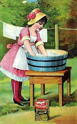 1880's Girl Using Wash Board Wash Tub Ivorine Laundry Victorian Trade Card P122